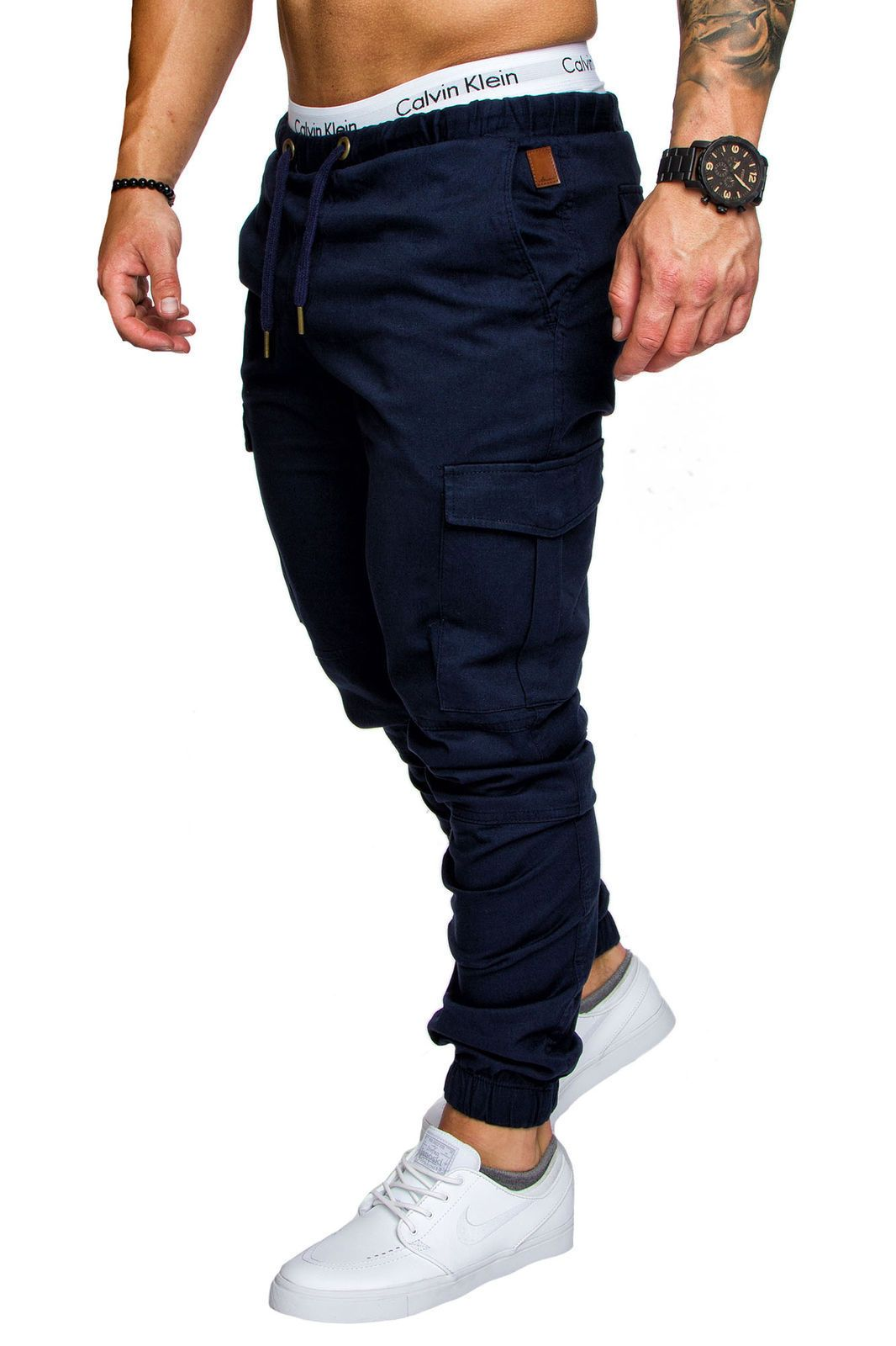 ASL Men Casual Elastic Waist Pants Feet Slim