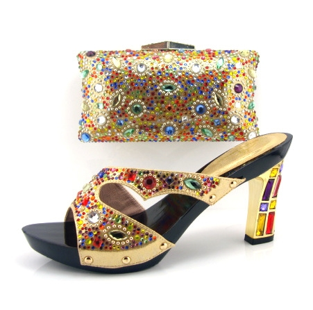 82.50$  Buy now - http://alizo0.worldwells.pw/go.php?t=32428880315 - Free shipping!fashion shoe and matching bag sets Italian for woman,gold color for party and wedding,wholesale,Size38-43, !!FS1-4