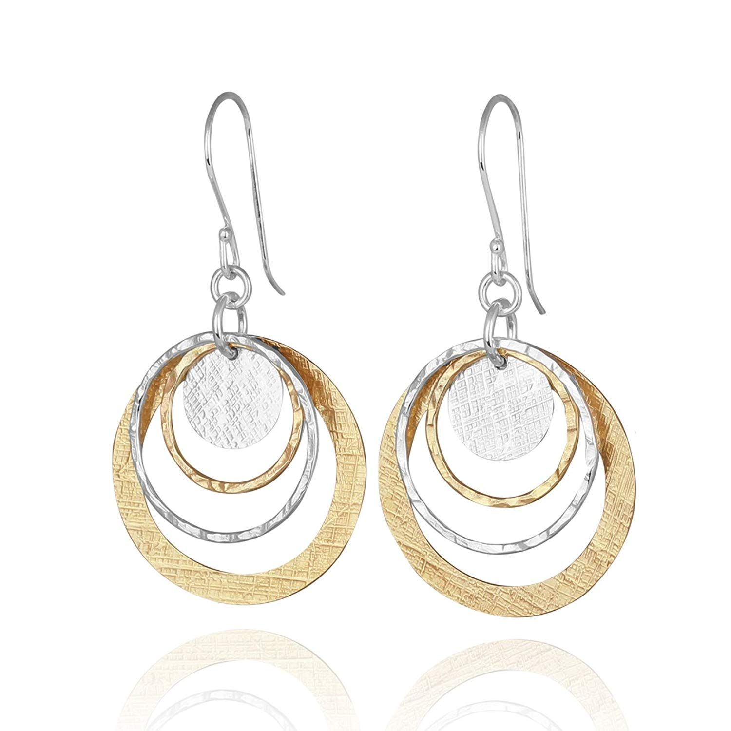 Two Tone 925 Sterling Silver /& 14k Gold-Filled Circle /& Disc Dangle Earrings