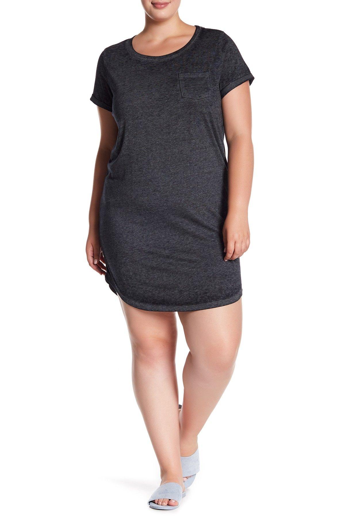 2be81cc14cb3e Image of PLANET GOLD Scoop Neck T-Shirt Dress (Plus Size)