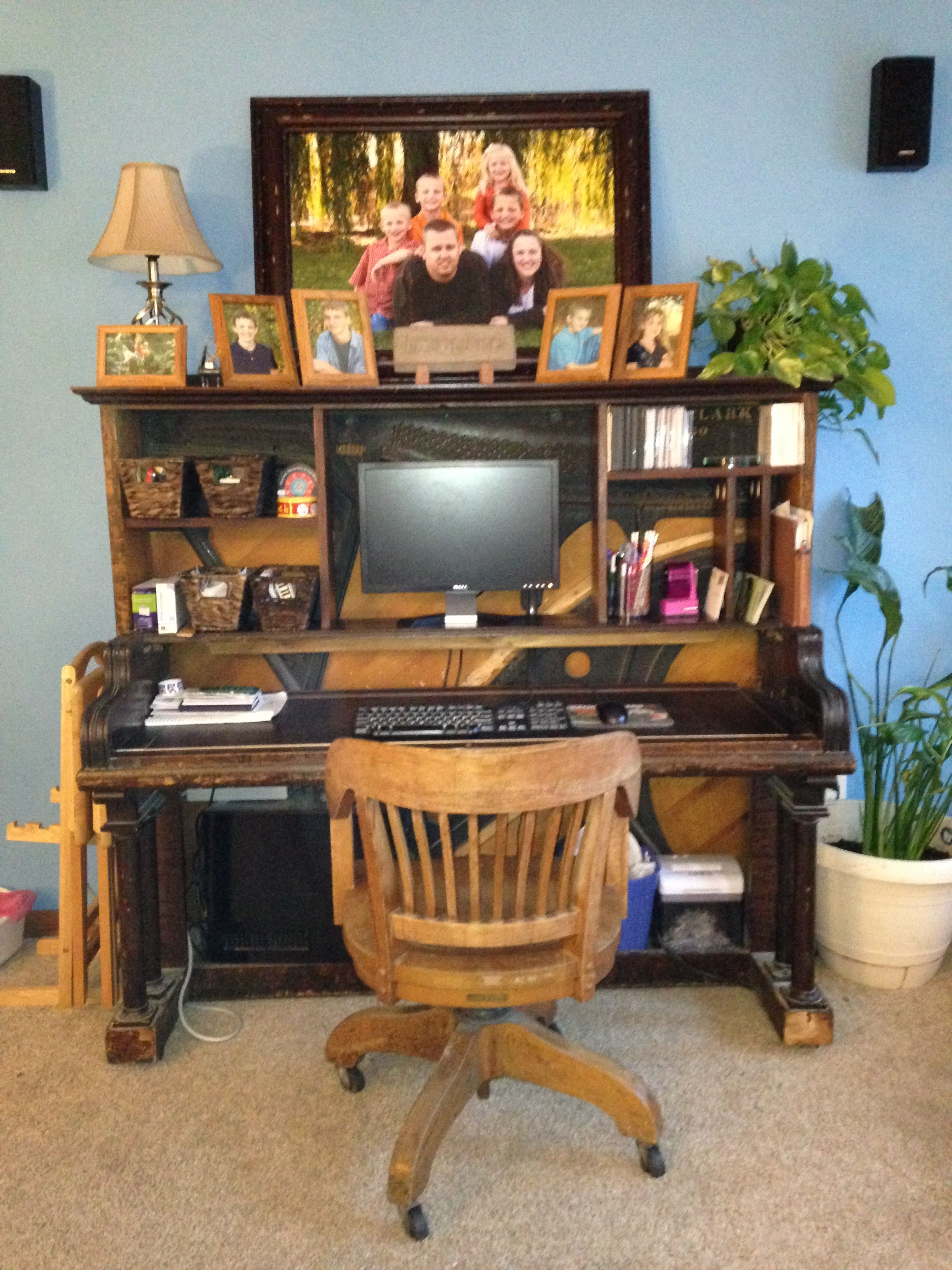 Old Piano Gutted And Repurposed Into A Computer Desk Old Pianos Repurposed Furniture Basement Decor