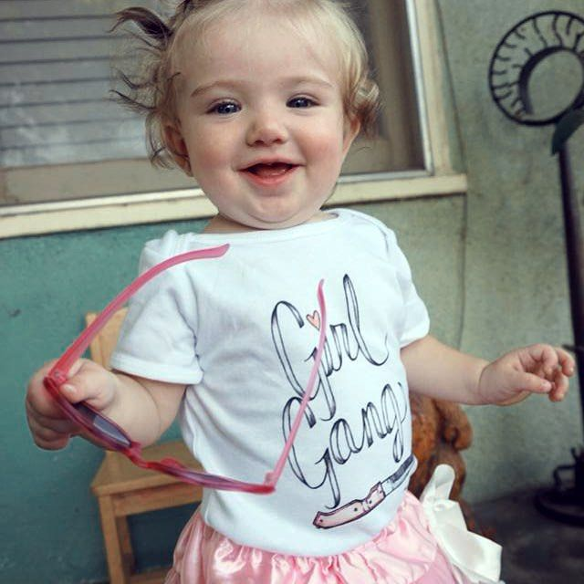 I am beyond excited to offer up the Girl Gang design in a onesie! I recieved an order for a baby a few months ago and it was so adorable that I decided to make it part of the collection. Matches perfectly with the adult size Girl Gang tee in the shop!  Link is in the profile. Modeled by my #girlgang pal, Dot!