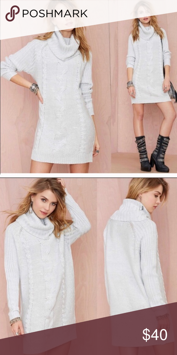 75c90b71c66 Nasty Gal Rise and Shine Turtleneck Sweater Dress Go ahead get your shine  on. This
