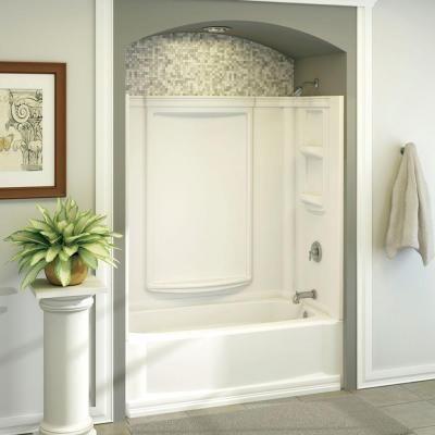Aqua Glass 60 in. x 32 in . Eleganza Bathtub Wall Set in White ...
