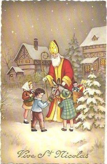 Jolie Carte Ancienne De Saint Nicolas Avec Enfants Sinterklaas