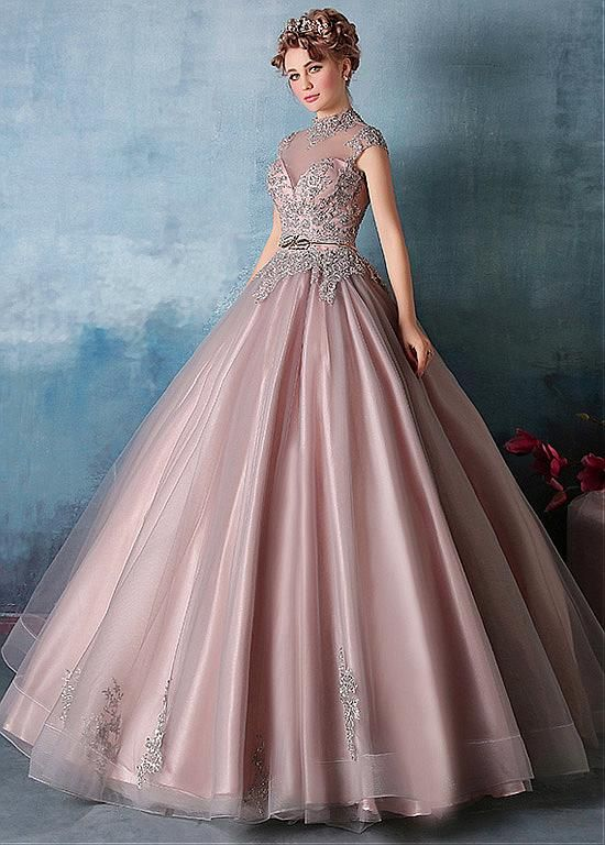 609c019b3c4 Vintage Tulle   Satin High Collar Ball Gown Prom Dresses With Beaded Lace…