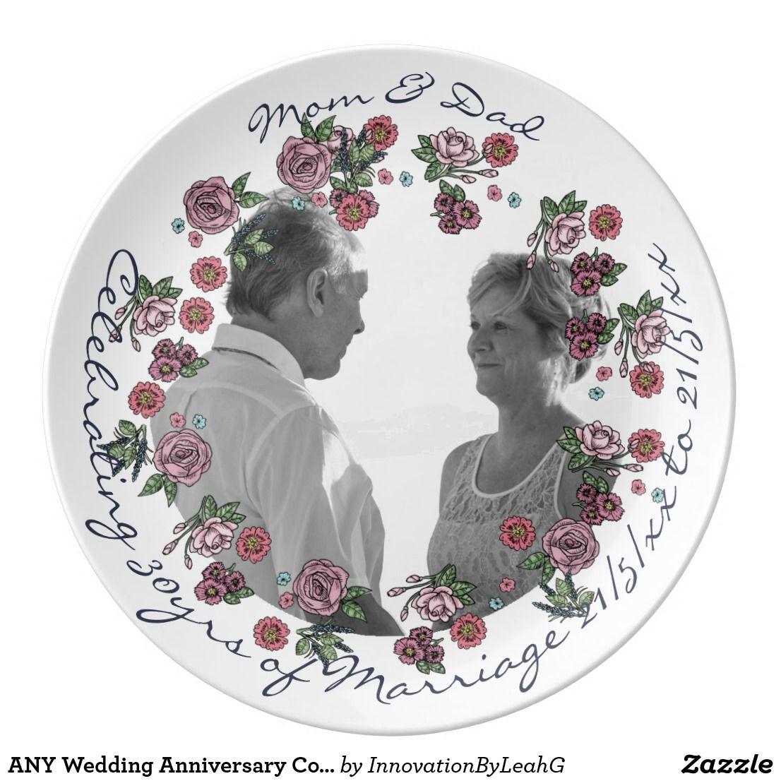 Any wedding anniversary commemorative dinner plate