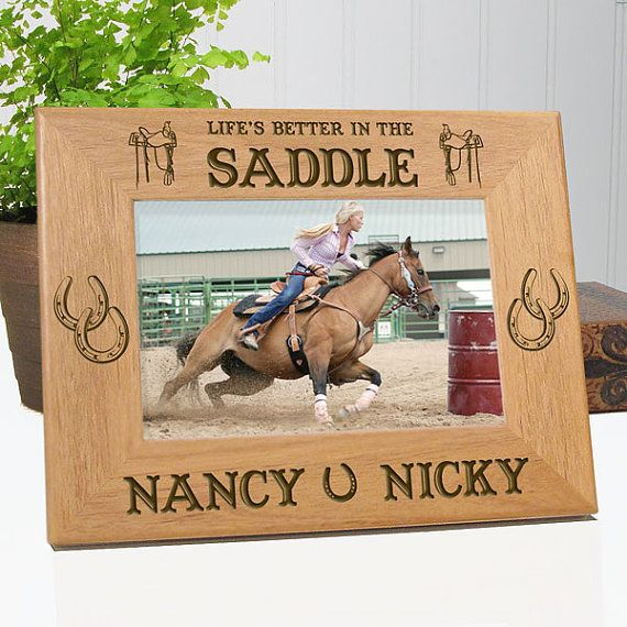 Personalized Pet Horse Lover Gift | Life's Better In The Saddle | Customized Horse Picture Frame | EtchedInMyHeart.com