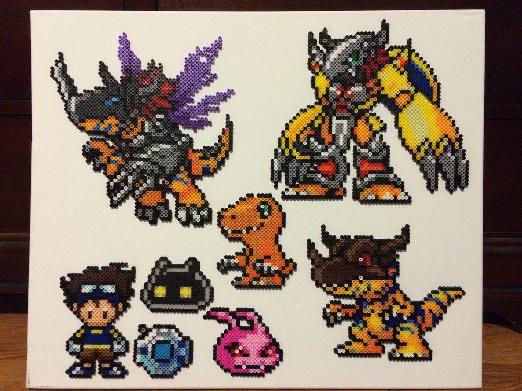 Digimon Perler Beads (Tai, Digivice, Botamon, Koromon, Agumon, Greymon, Metalgreymon, Wargraymon) by xtuyet