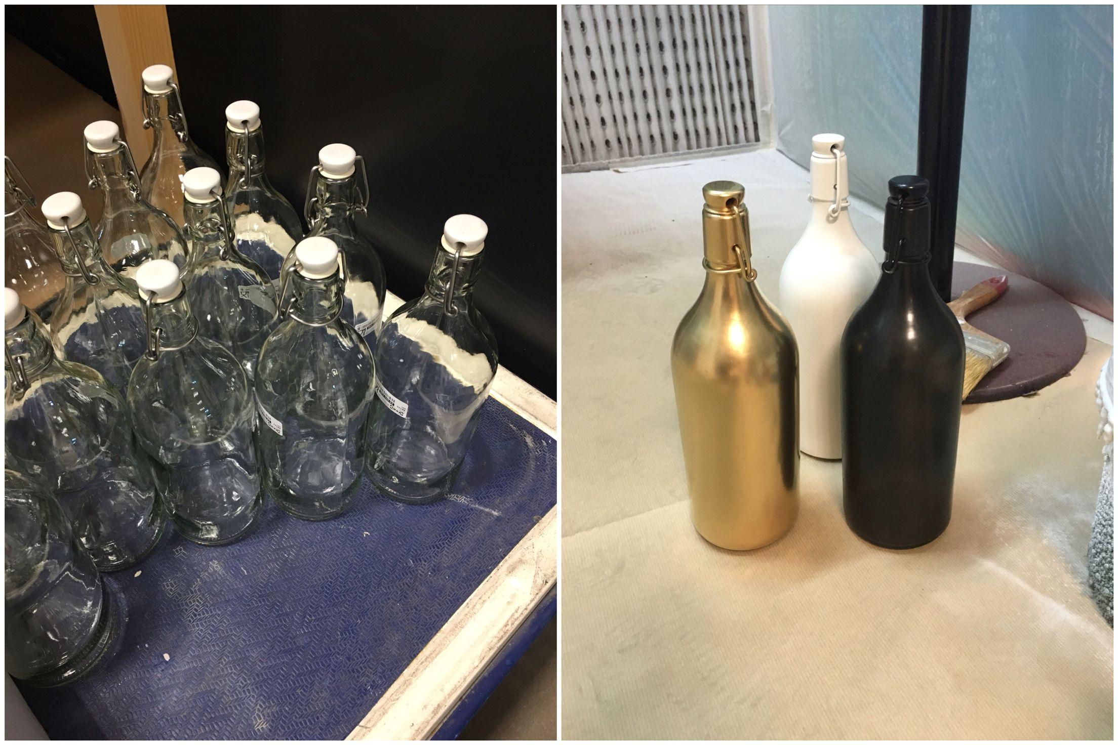 Reciclando botellas!  Si tienes viejas botellas (estas las compré en Ikea ) píntalas con spray y utilízalas para decorar cualquier rincón  Truco: da dos o 3 pasadas finas esperando un minuto entre capas