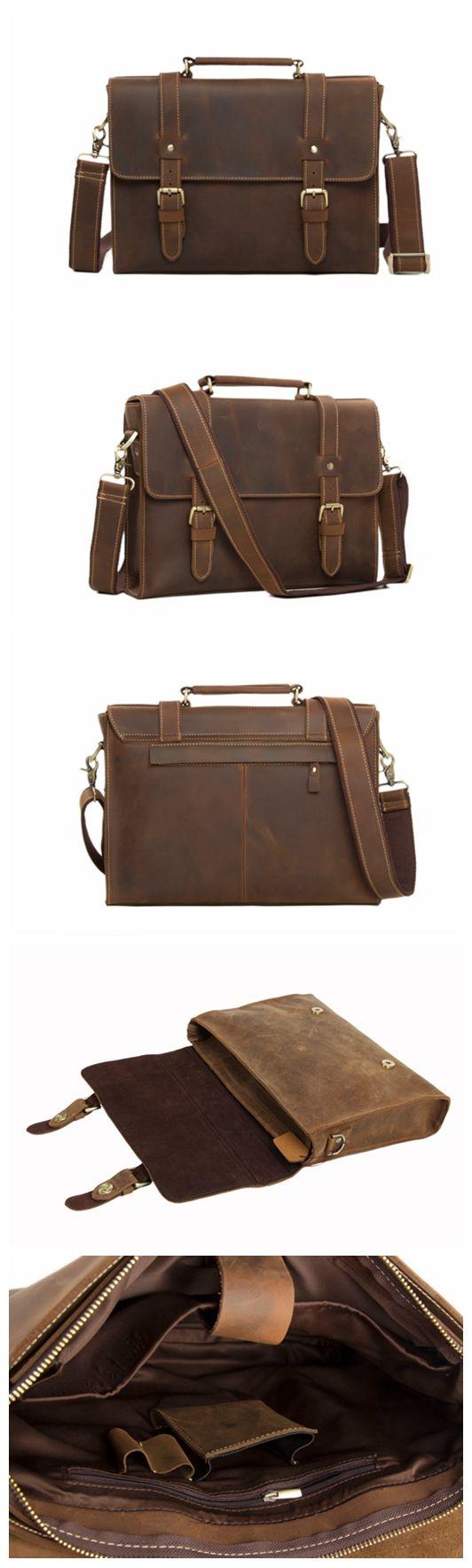 Handmade Vintage Style Leather Briefcase Messenger Bag Satchel Bag Crossbody…