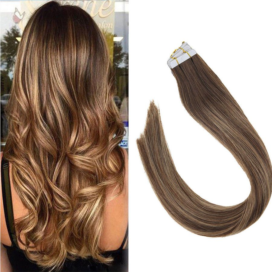 Sunny Tape In Hair Extension Remy Human Hair Balayage Dark Brown
