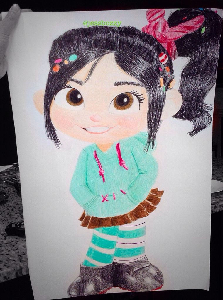 My Vanellope Von Schweetz drawing our school's grade 7 French Wax Museum (musée de cire)