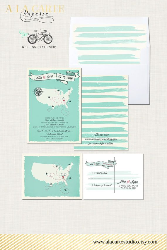 Custom Map Destination Wedding Invitation by alacartestudio | A la ...
