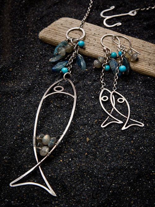 Fishing.. nordic silver fish in original design with hook decorated by turquoise, cyanite and labradorite