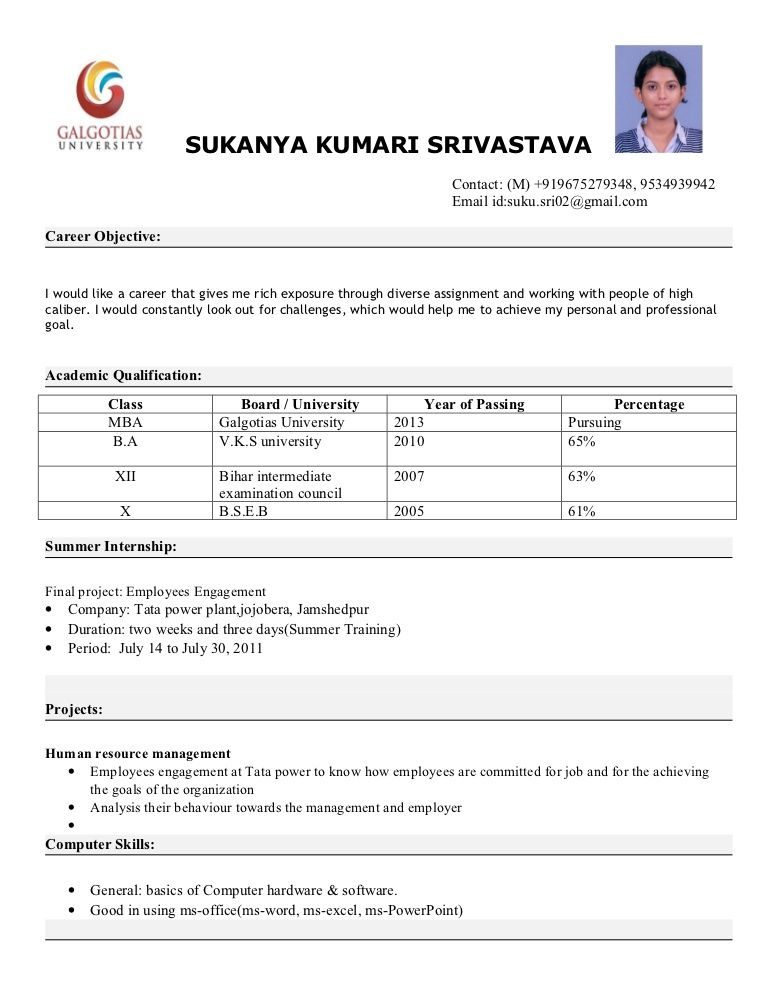 Sample Mba Resumes Mba Resume Format  News To Go 3  Pinterest  Sample Resume And .