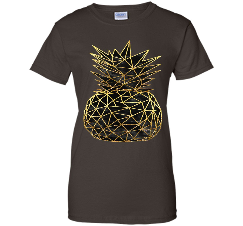 Attractive modern geometric gold pineapples design t shirt