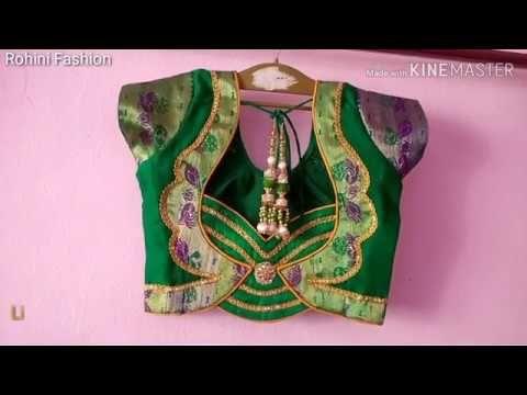 b73097f430b64 Semi Paithani saree designer patchwork back neck blouse