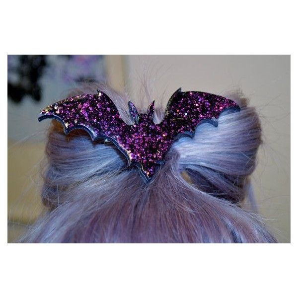 Bat Necklace hair clip Holo Glitter, Pastel Goth, Fairy Kei, Soft... ❤ liked on Polyvore featuring hair