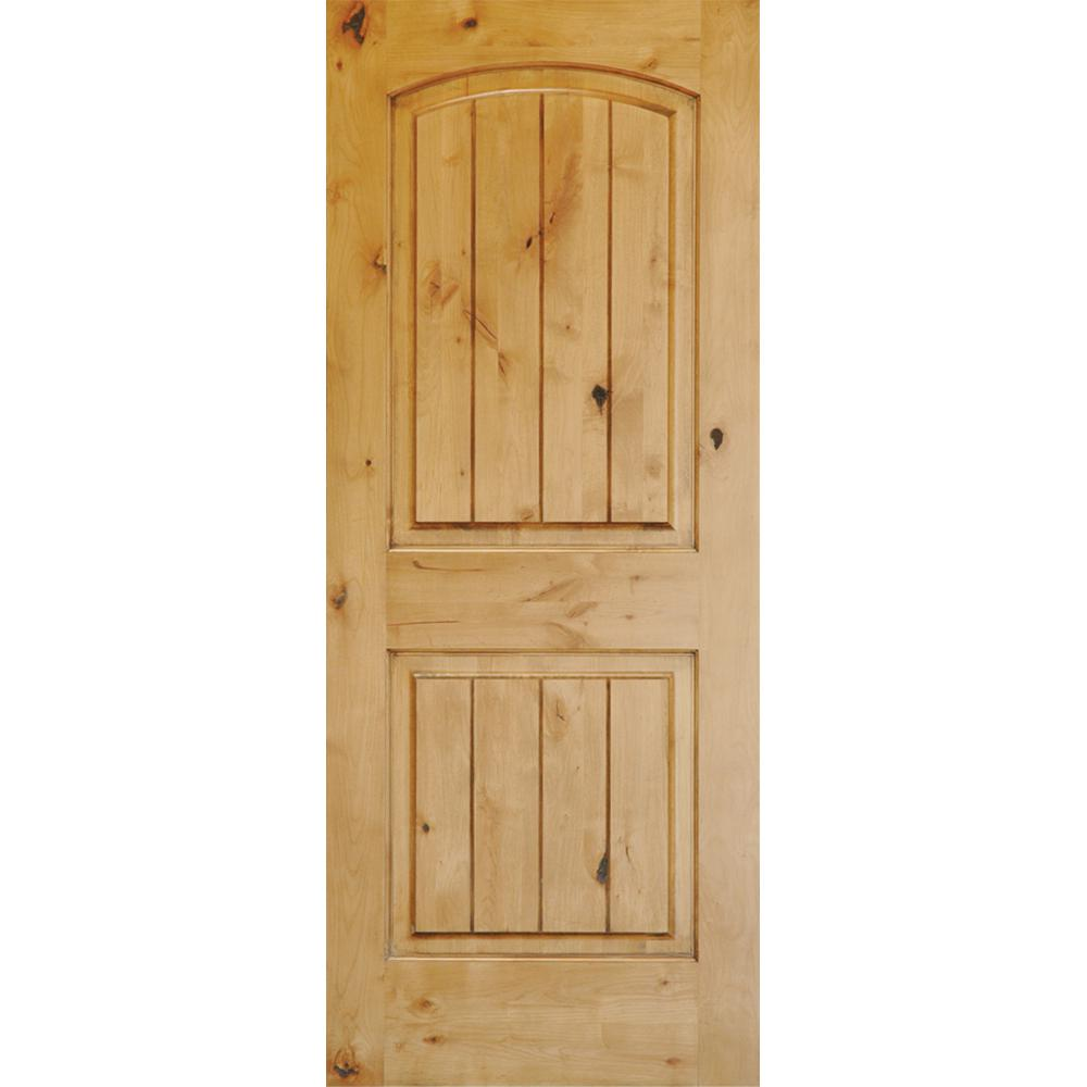 Krosswood Doors 36 In X 96 In Knotty Alder 2 Panel Top Rail Arch With V Groove Solid Wood Core Interior Door Slab Ka 121v 30 80 138 Wood Front Doors Prehung Interior Doors Wood Doors