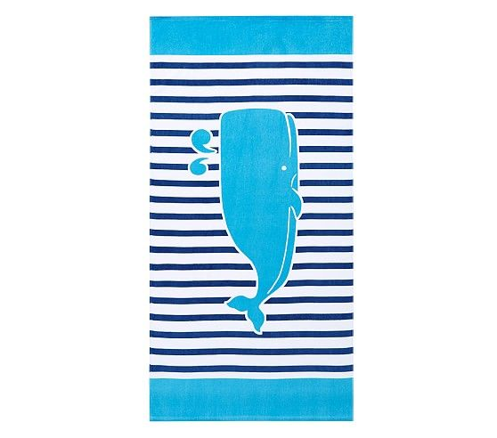 Breton Stripe Whale Kid Beach Towel Boy Towel Boy Kids Beach