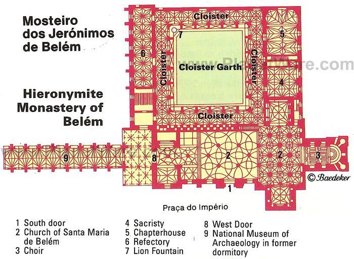 Lisbon Hieronymite Monastery of Belm Floor plan map lisboa