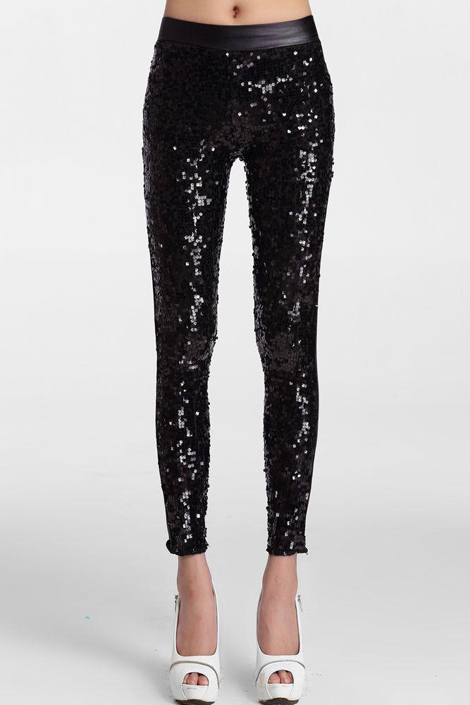 e91e5a07cc67b Women Black Sequin Front Pu Leggings Sequinded Pants Dance Wear ...