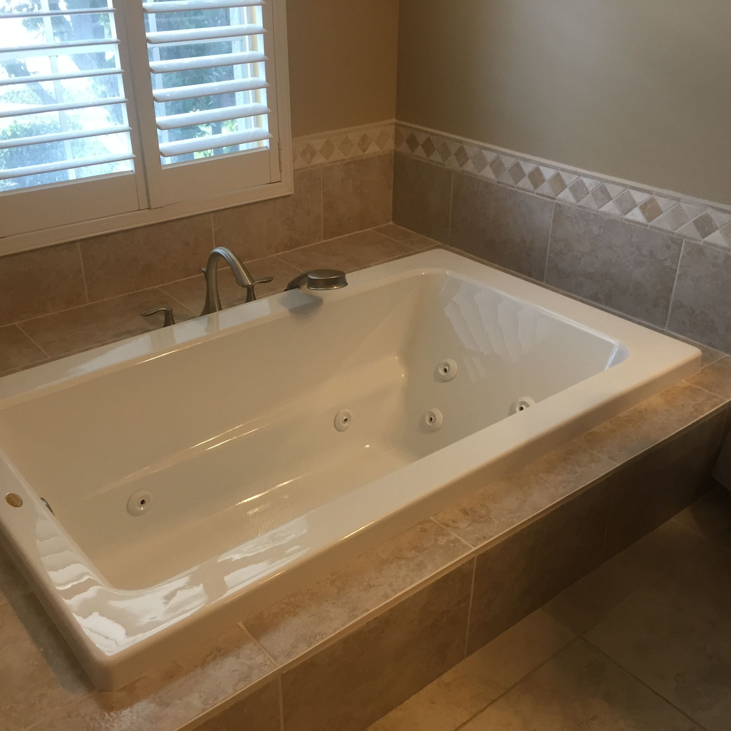 Drop-in jetted tub w/ MOEN Eva Roman tub spout & sprayer | Bathroom ...