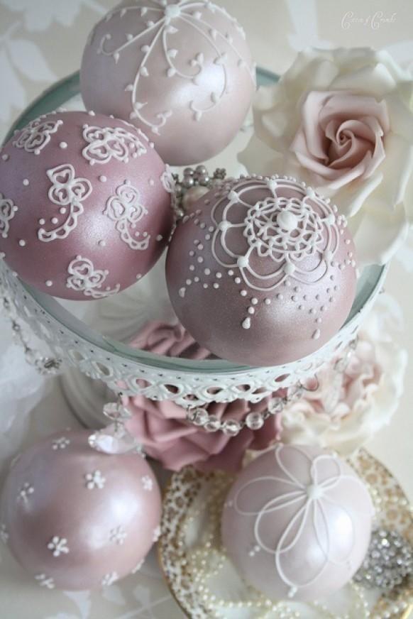 Wedding Bubble Cakes - vintage romantic mothersday lace pale pink metallic fairy favor
