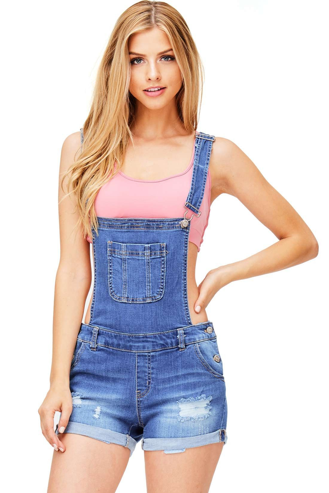 Denim short overalls with a single chest pocket and adjustable straps that  can be worn straight fa5c8b4dc209