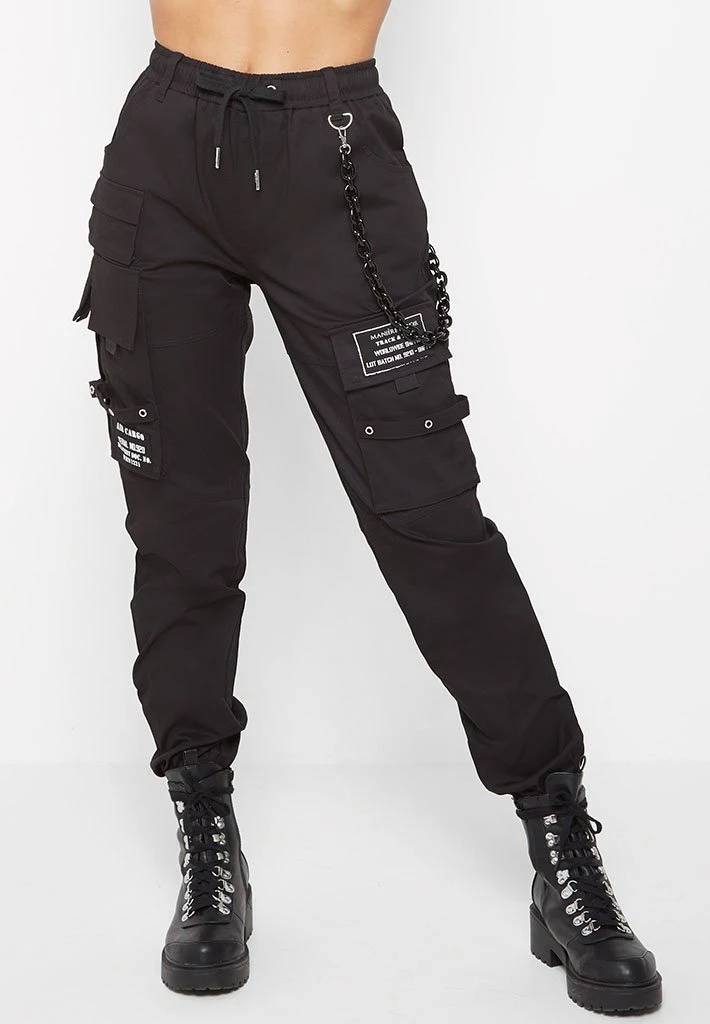 Chain Detail Cargo Pants Black Maniere De Voir Edgy Outfits Cute Casual Outfits Cool Outfits