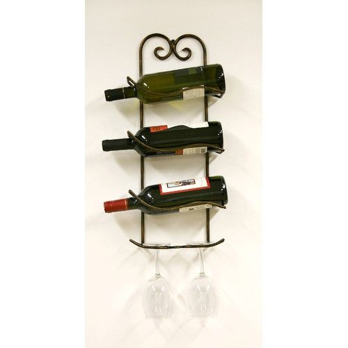 Creative Creations Xiafeng 3 Bottle Wall Mounted Wine Rack Kitchen