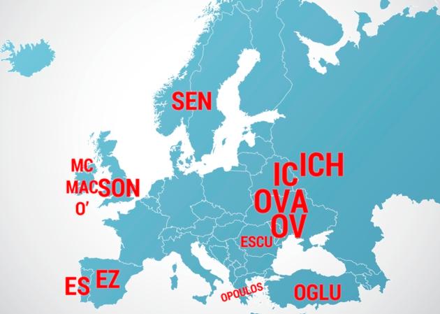 Los Apellidos Que Significan Hijo De En Europa Mapa Espanhol