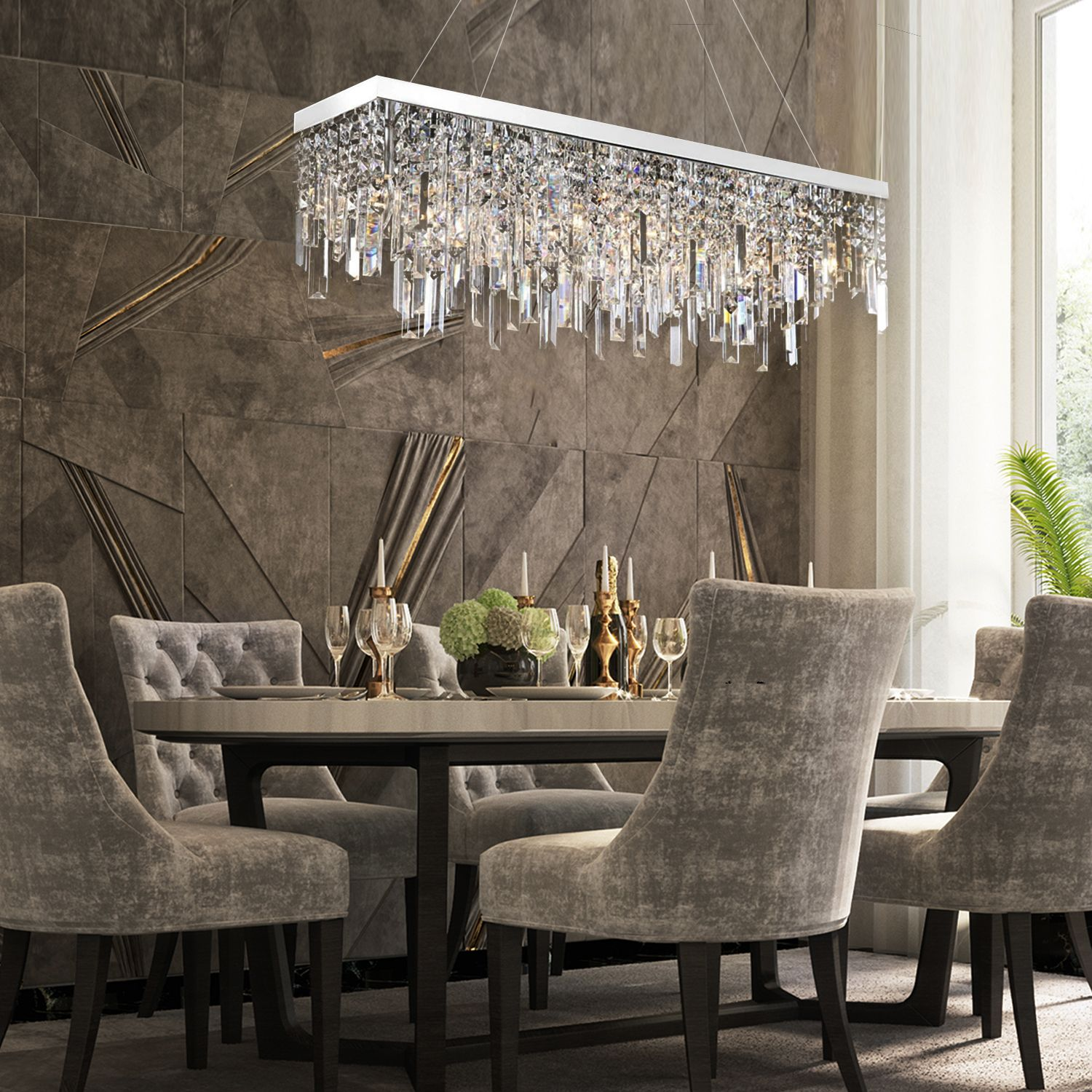 Rectangular Crystal Chandelier With Linear Design Dining Room In 2020 Contemporary Dining Room Lighting Contemporary Dining Room Decor Luxury Dining Room