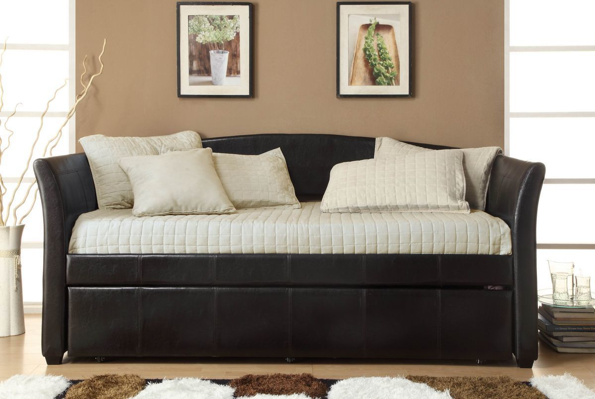 Homelegance Meyer Dark Brown Leather Twin Daybed with Roll