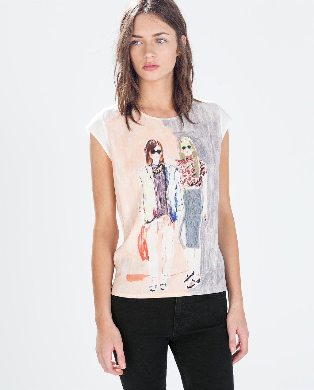 Nueva York venta usa online 2020 ZARA - MUJER - CAMISETA ESTAMPADO CHICAS | Camisetas en 2019 ...