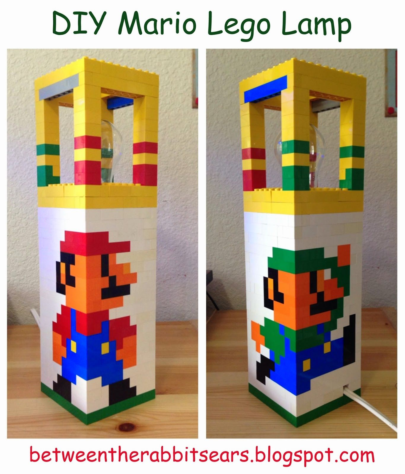 between the rabbits ears diy mario lego lamp with instructions - Boys Room Lego Ideas