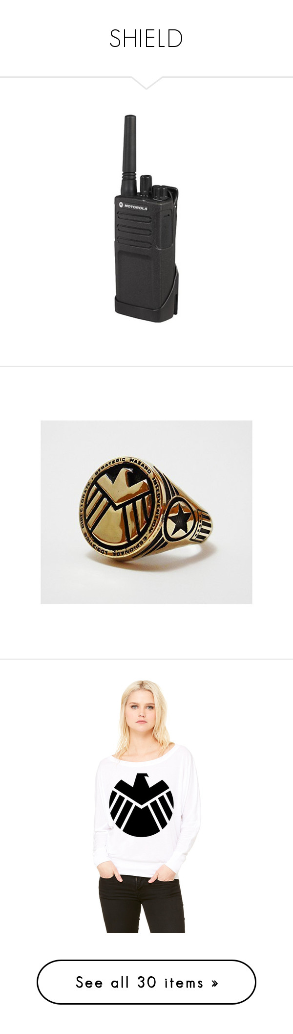 """""""SHIELD"""" by fantasy2fiction ❤ liked on Polyvore featuring fillers, jewelry, rings, the avengers, tops, t-shirts, long sleeve white t shirt, white t shirt, long sleeve t shirts and off the shoulder tee"""
