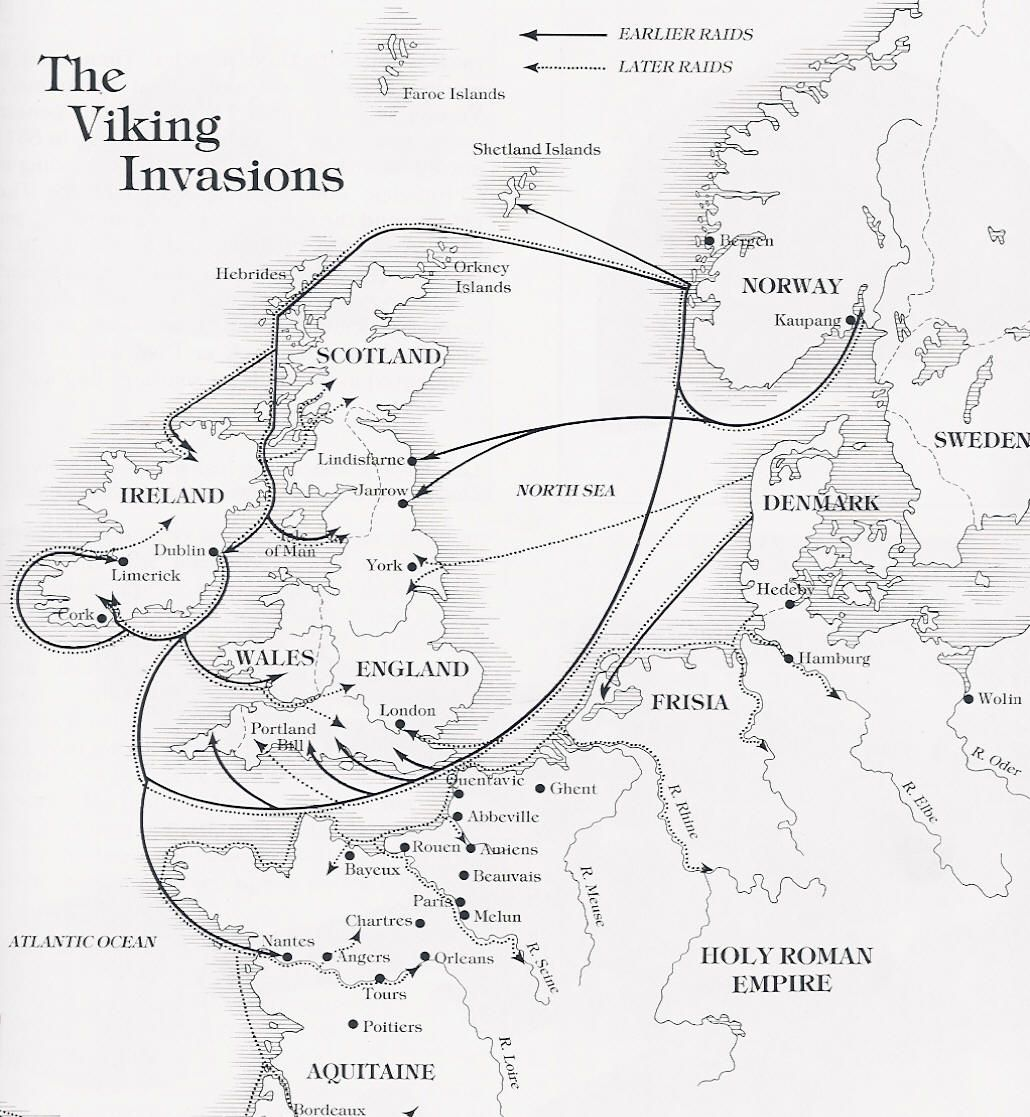 map showing the principal routes of viking invasion of england and