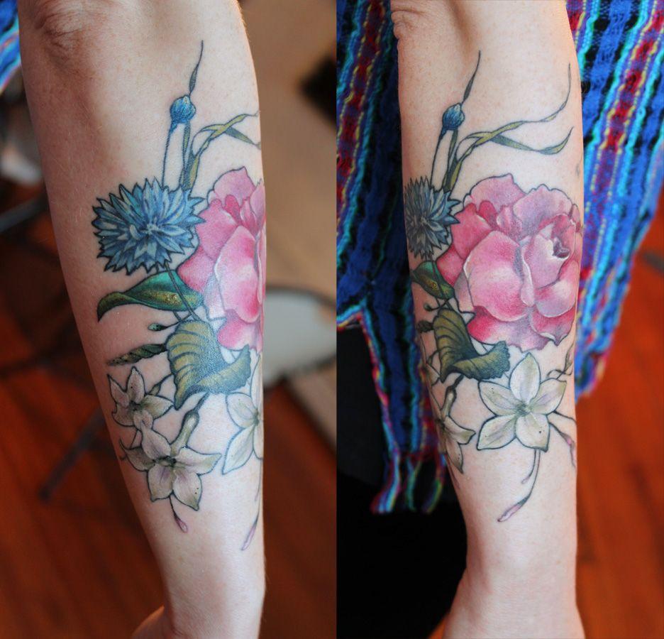 54e0fd3a4acff rose cornflower jasmine tattoo by Aubrey Mennella : IG @aubreymennella
