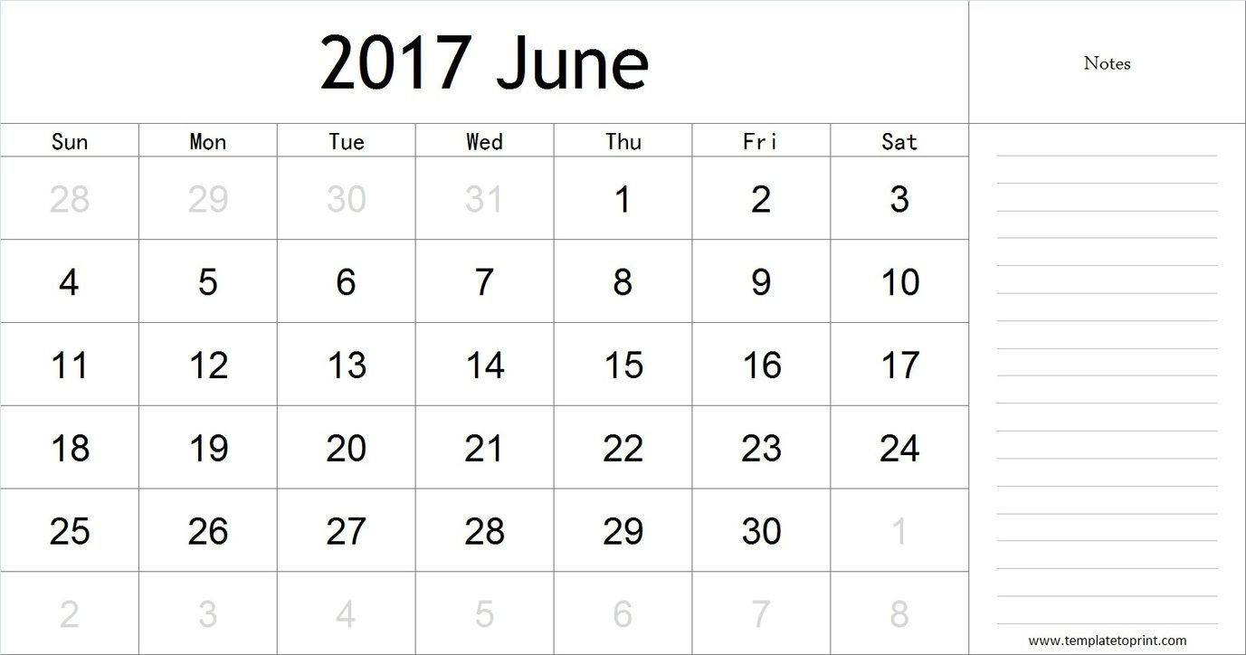 June  Calendar With Notes Pdf Blank Calendar Template