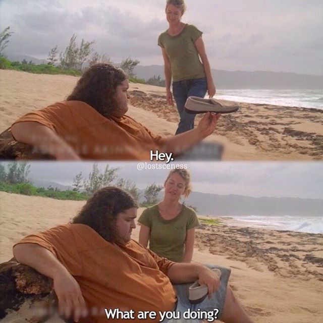 when you think you're holding a shoe but you're not actually holding a shoe #lost #losttv #lostabc #lostshow #lostseries #losttvshow #losttvseries #lostscene #lostsceness #libbysmith #hurley #hugoreyes #cynthiawatros #jorgegarcia #hibby @watros.watros @pronouncedhorhay -jess