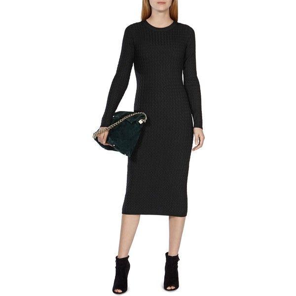 Karen Millen Fine Gauge Cable Knit Sweater Dress ($299) ❤ liked on Polyvore featuring dresses, black, black sweater dress, karen millen, karen millen dress, kohl dresses and black dress