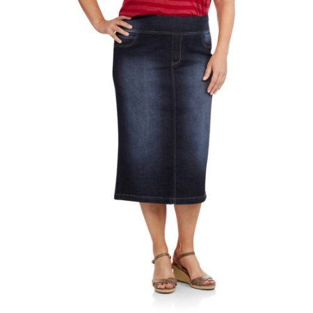 123ed2d3ce Faded Glory Women's Plus-Size Pull-On Denim Skirt, Gray   Products ...