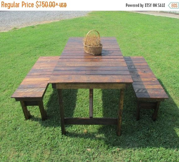 6' Rustic Kitchen Table & Bench Set Reclaimed Wood Table Kitchen New Rustic Kitchen Tables Design Decoration