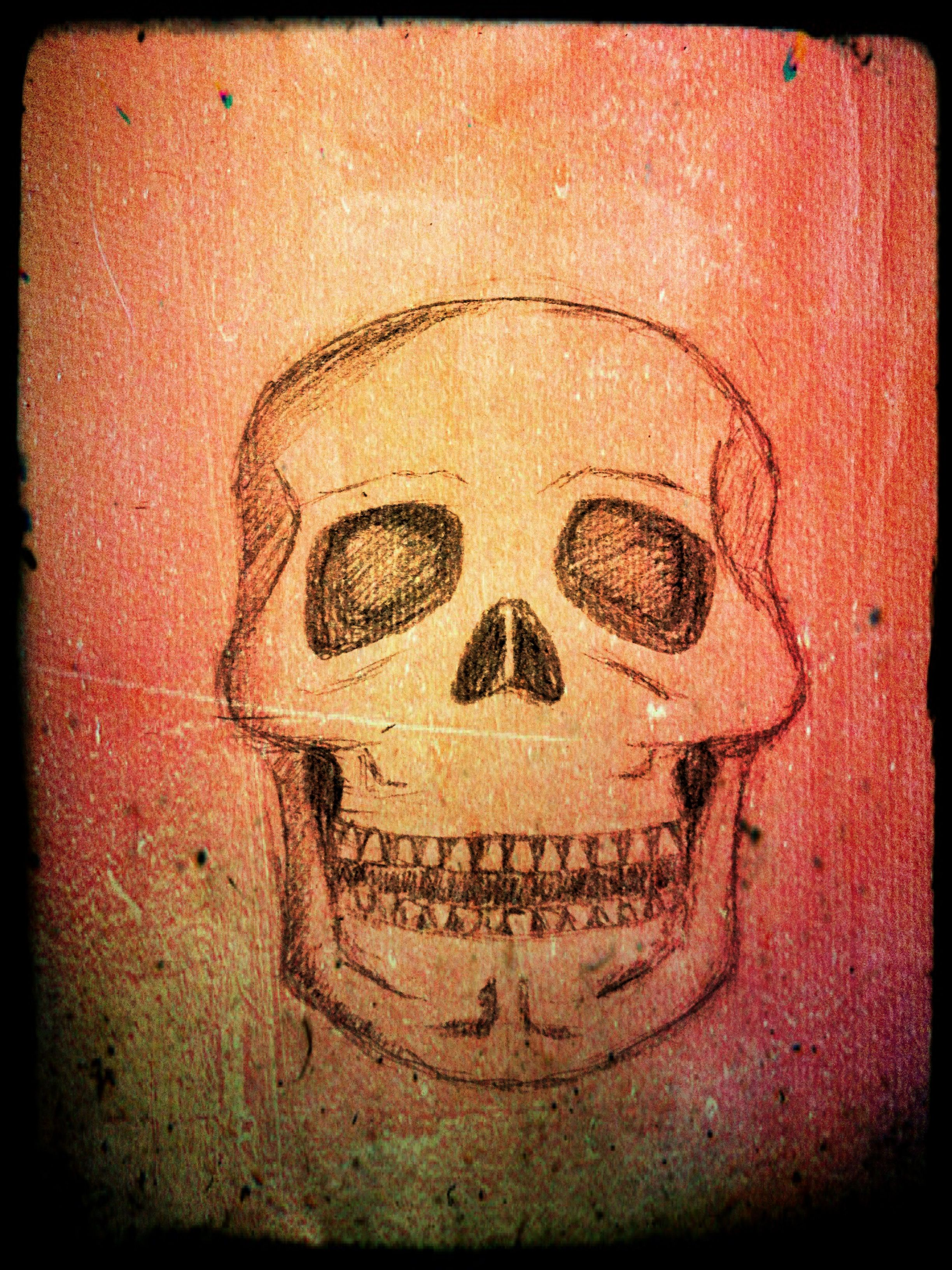 Water colour wash skull