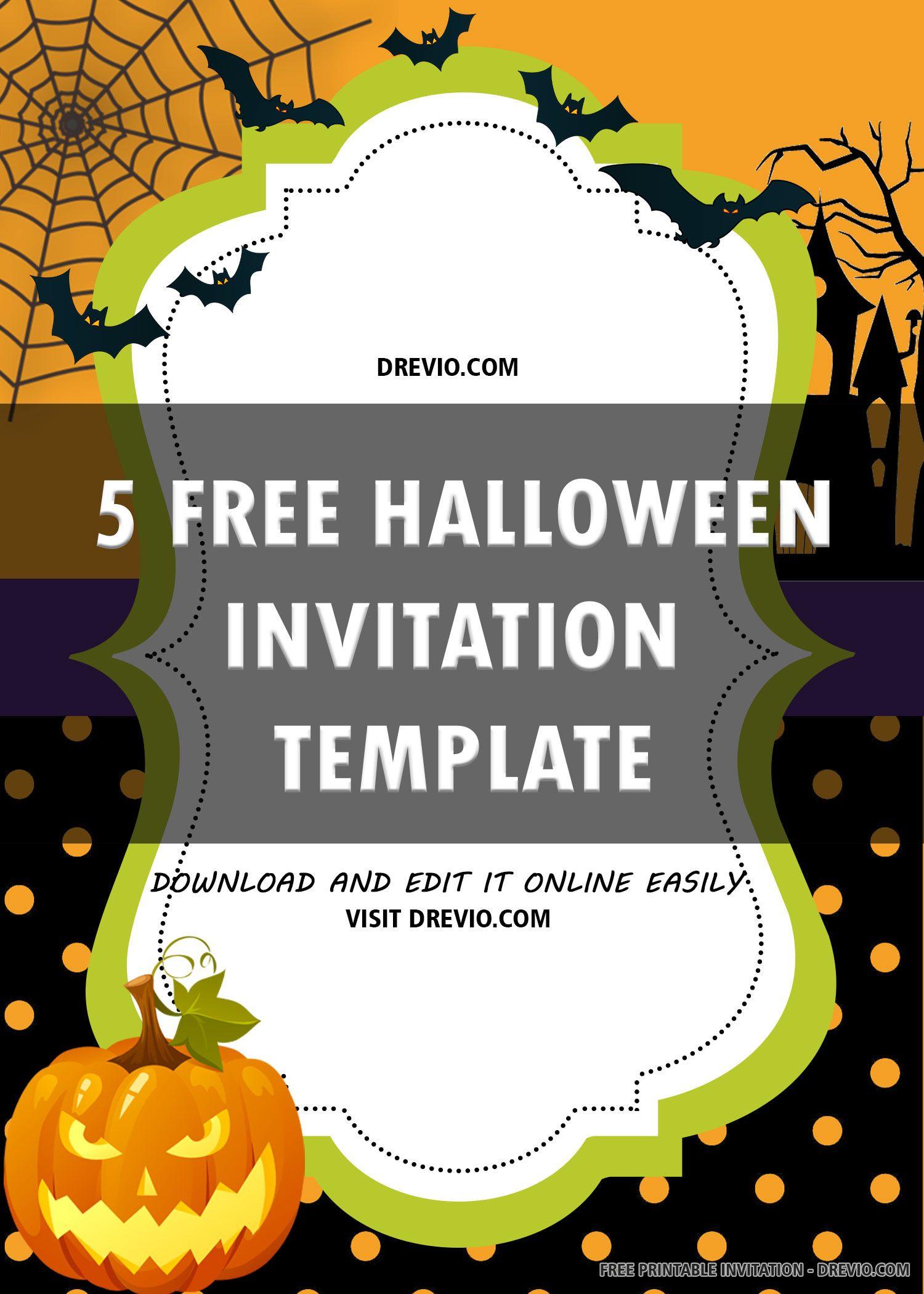 Free Halloween Invitation Template In 2020 Free Halloween Invitations Free Halloween Invitation Templates Halloween Invitation Template