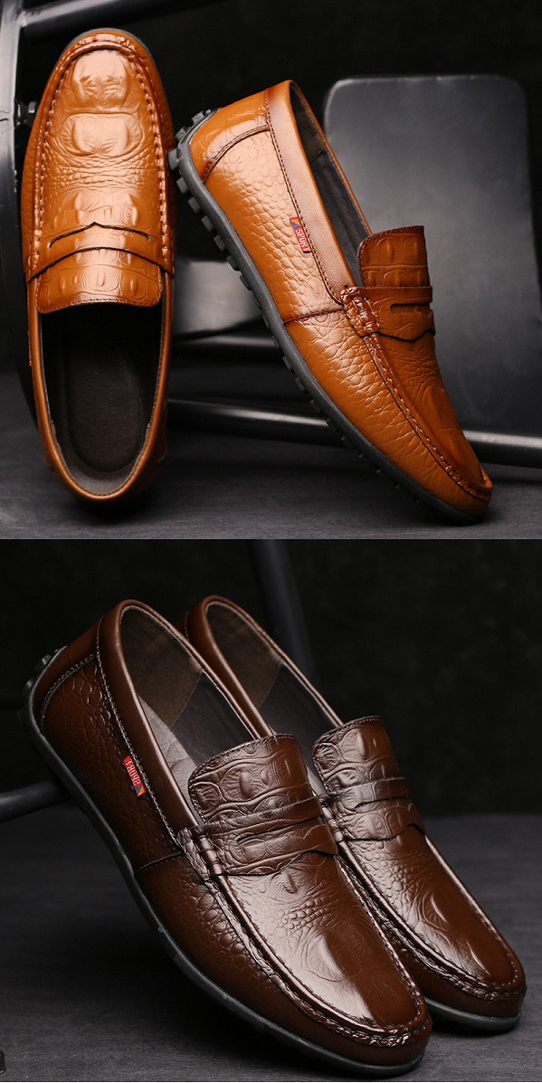 5b28bf879 US 39.01 Men Crocodile Pattern Soft Slip On Doug Shoes Casual Leather  Driving Loafers