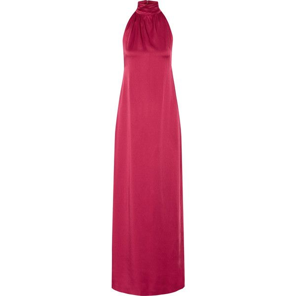 Rachel Zoe - Darby Open-back Satin-crepe Halterneck Gown (€240) ❤ liked on Polyvore featuring dresses, gowns, magenta, halter gown, purple gown, purple evening gowns, purple ball gowns and satin evening gown
