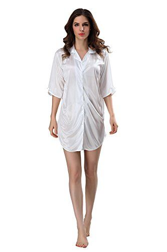 f814a2a7c1 RAYYEE Womens Short Sleeve Satin Nightshirt Boyfriend Style Silk Sleep Shirt  L White -- You
